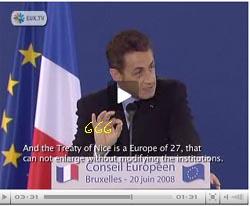 Nicolas Sarkozy hands are purposeful set to show the 666 devil sign
